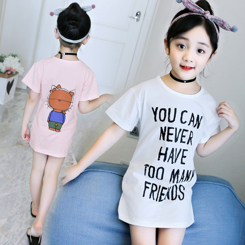 Girls tshirt 2018 Summer long t shirt Elastic Cotton Tshirt Roupas infantis menina Fashion Printing T-shirt Short sleeve 4-14y