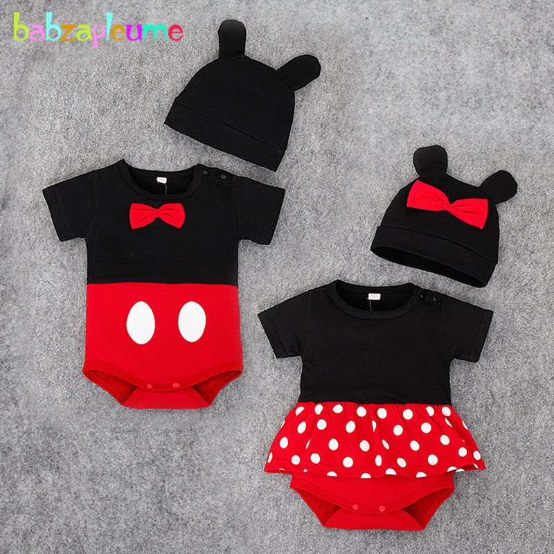 2Piece/0-24Months/Summer Newborn Clothes Set Cartoon Jumpsuits 1st Birthday Baby Girls Boys Bodysuits+Hat Infant Clothing BC1145