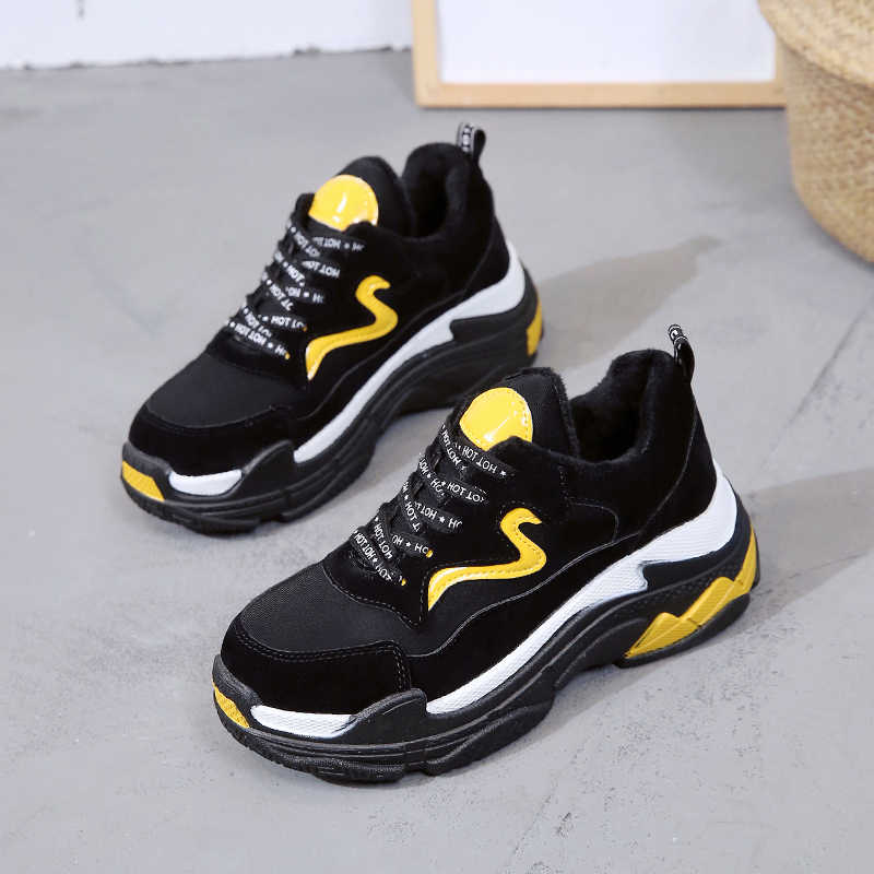 Detail Feedback Questions about Kjstyrka 2018 fashion casual Autumn Winter Sneakers  Women Mix Color Platform Shoes Warm Plush Walking Shoe Laces Up Casual ... 0af3deb92c51