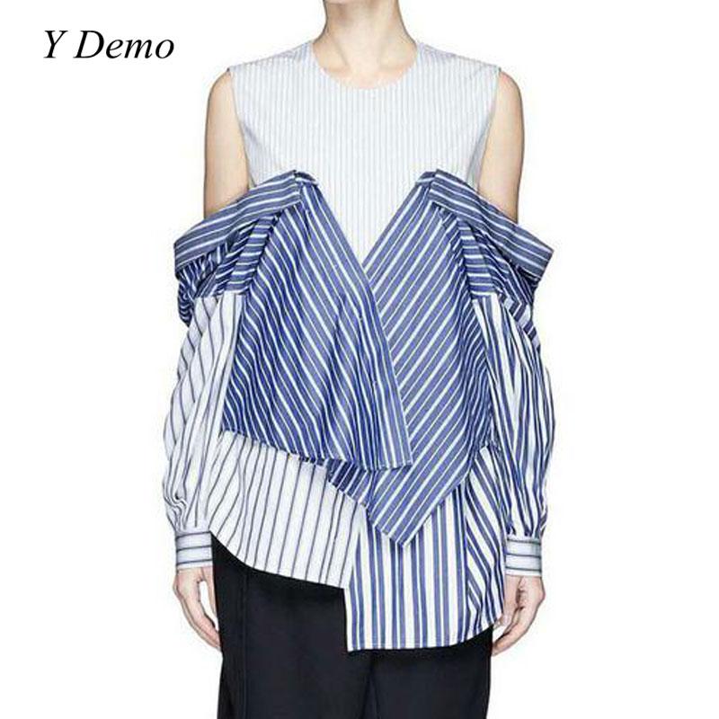 2017 Autumn Spliced Stripes Women Shirt Two Ways Wear Sleeveless Blouse