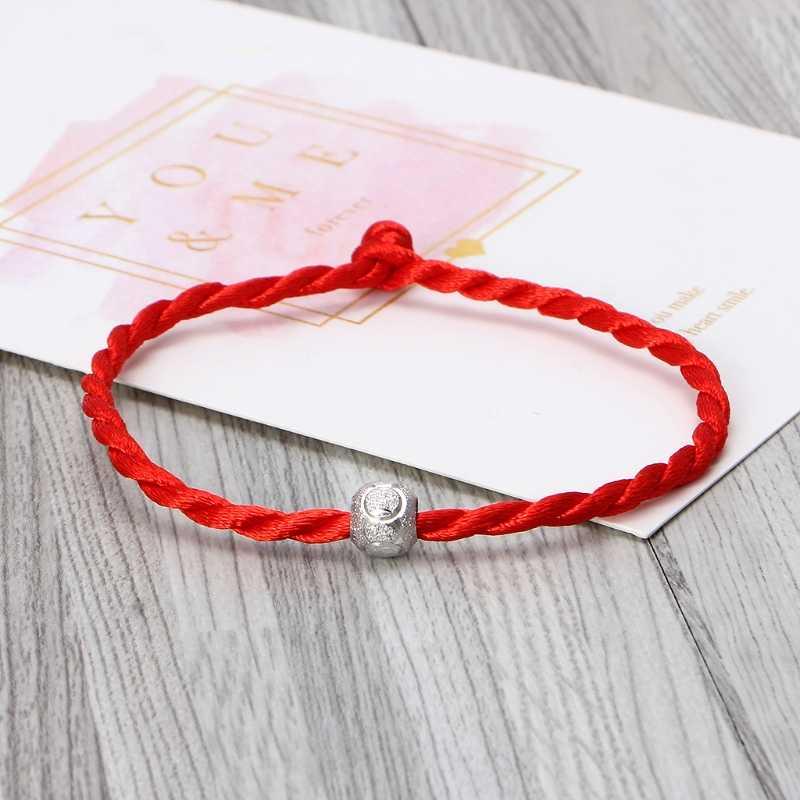 Moda Sorte Pulseira Para Mulheres Homens Jóias Casal Amante Crianças Linha Corda Vermelha Ajustável Pulseira Artesanal Jóias DIY