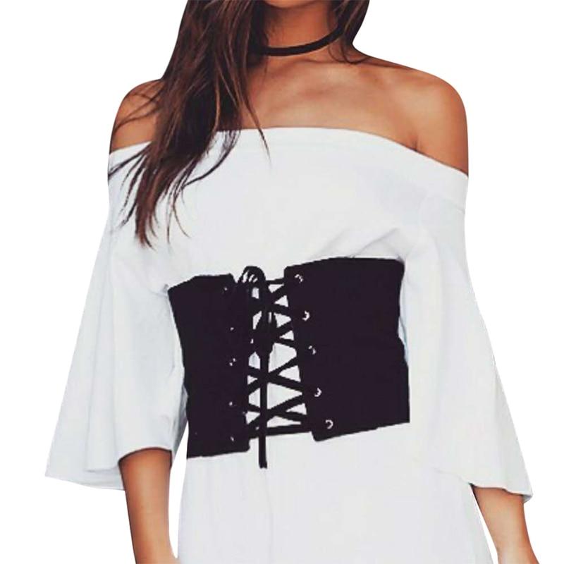 2017 hot vintage zwarte faux suede lace up korset bandage vrouwen riem midriff cincher zwart brede riemen