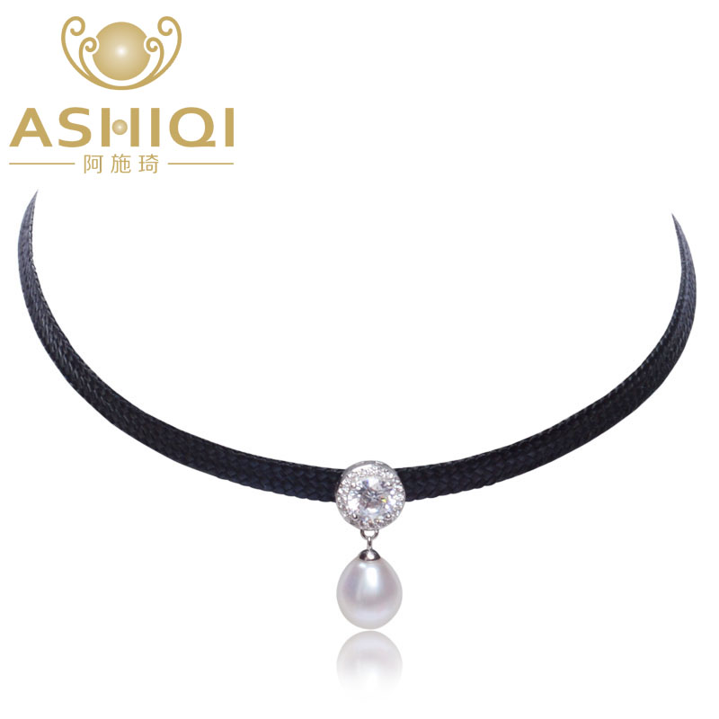 ASHIQI Natural Freshwater Pearl Choker Necklace 34cm + 6cm High Quality 925 Sterling Silver Rope Chain For Women