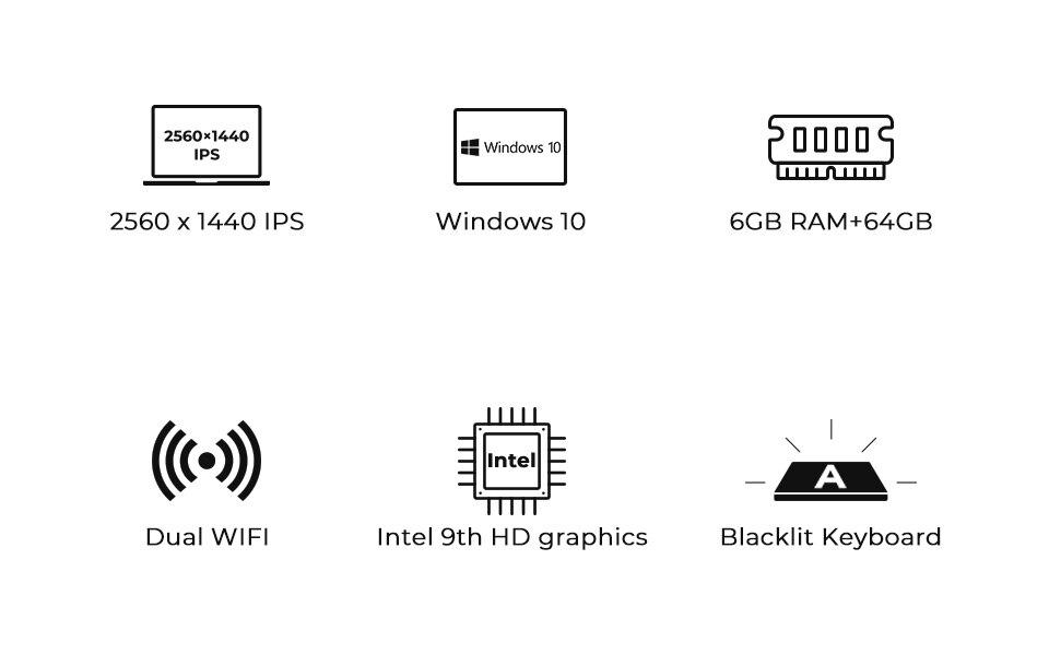 Acheter Ordinateur Portable Emmc Xidu 125 Pouces 6go 64go 2560x1440 écran Ips Intel Celeron N3450 Windows 10 Ordinateurs Portables Wi Fi 24 G 5 G
