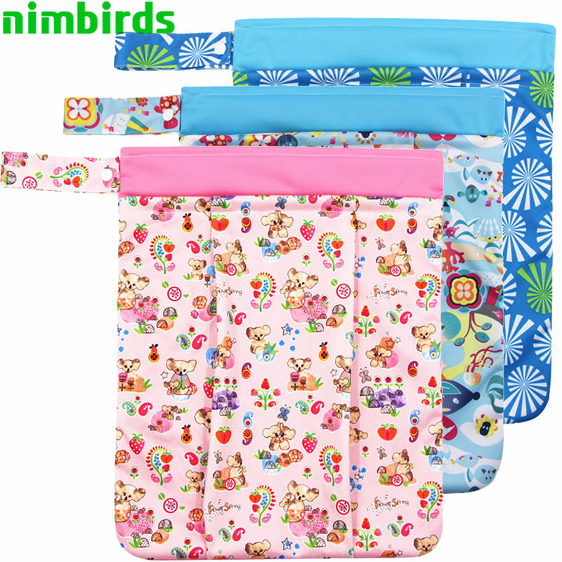 33x41cm  Washable Diaper Bags Nappy Reusable  Patchwork Double Zippers Cloth Diaper Fashion Wet Bag Waterproof  Wet Dry Bags