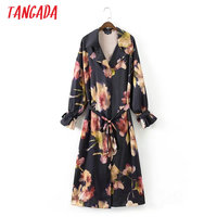 Tangada Women Long Trench Coats Floral Print Windbreaker With Belt Turn Down Collar Autumn Female Casual Streetwear British XD14