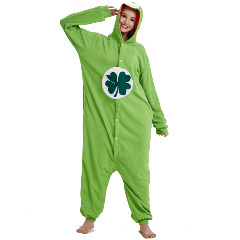 Green Four-leaf Clover Lucky Care Bear Cosplay Pajamas Adult Women Men Unisex Onesie One Piece Hooded Romper Party Costumes (5)