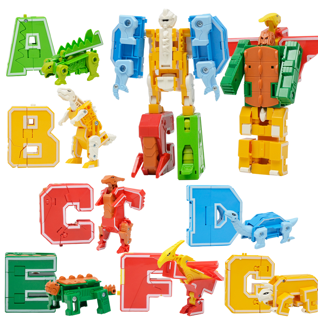 Number Alphabet Transform Robots Toy Digital Deformation Robot Toy to A Big Early Learning Robot for Kids