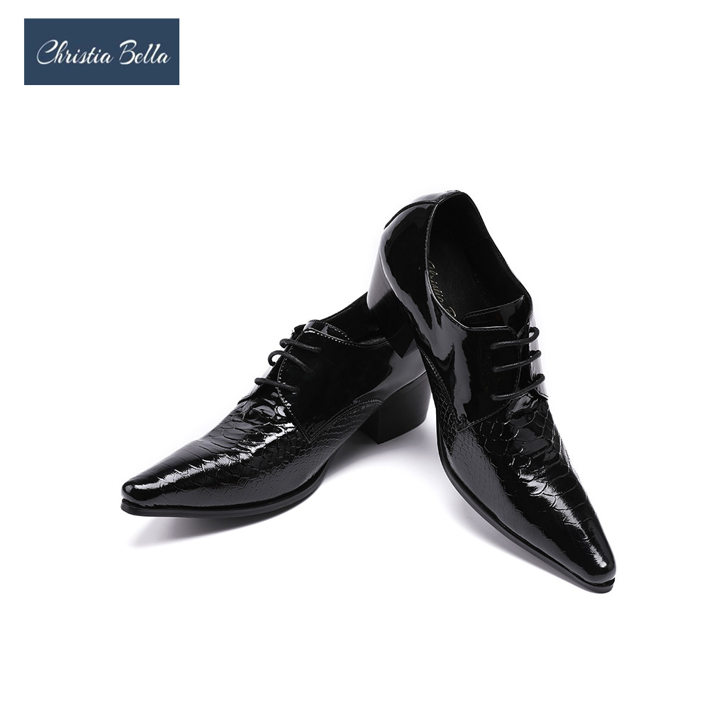 Christia Bella Men Dress Shoes Pointed Toe High Heel Party Shoes Handsome Mens Business Shoes Fashion Black Oxford Shoes Flats