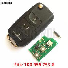 Qcontrol carro auto remoto chave diy para vw/volkswagen caddy/eos/golfe/jetta/sirocco/tiguan/touran 1k0959753g/hlo 1k0 959 753g