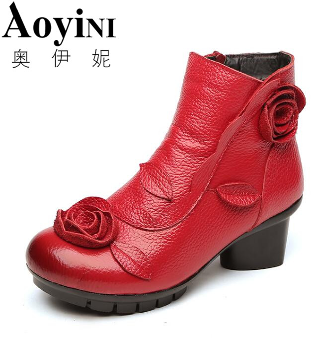 New Arrival 2018 Spring Fashion Women Genuine Leather Boots Handmade Vintage Flower Ankle Botines Shoes Woman Winter botas 2015 winter new arrival australia classic warm boots genuine leather handmade rhinestones diamond 3d flower women snow boots