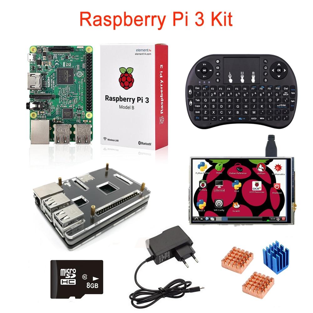 Raspberry Pi 3 + 3,5 zoll LCD Touch Screen + 8G Sd-karte + Wireless Remote Tastatur + 5 layer Fall + Kühlkörper + Netzteil