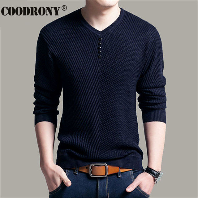 COODRONY Sweater Men Casual V-Neck Pullover Men Autumn Slim Fit Long Sleeve Shirt Mens Sweaters Knitted Cashmere Wool Pull Homme 3