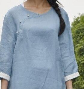 В китайском стиле ретро имитация нефрита пряжкой хит цвет с длинным рукавом sectioncardigan рубашки 18059 - Цвет: Небесно-голубой