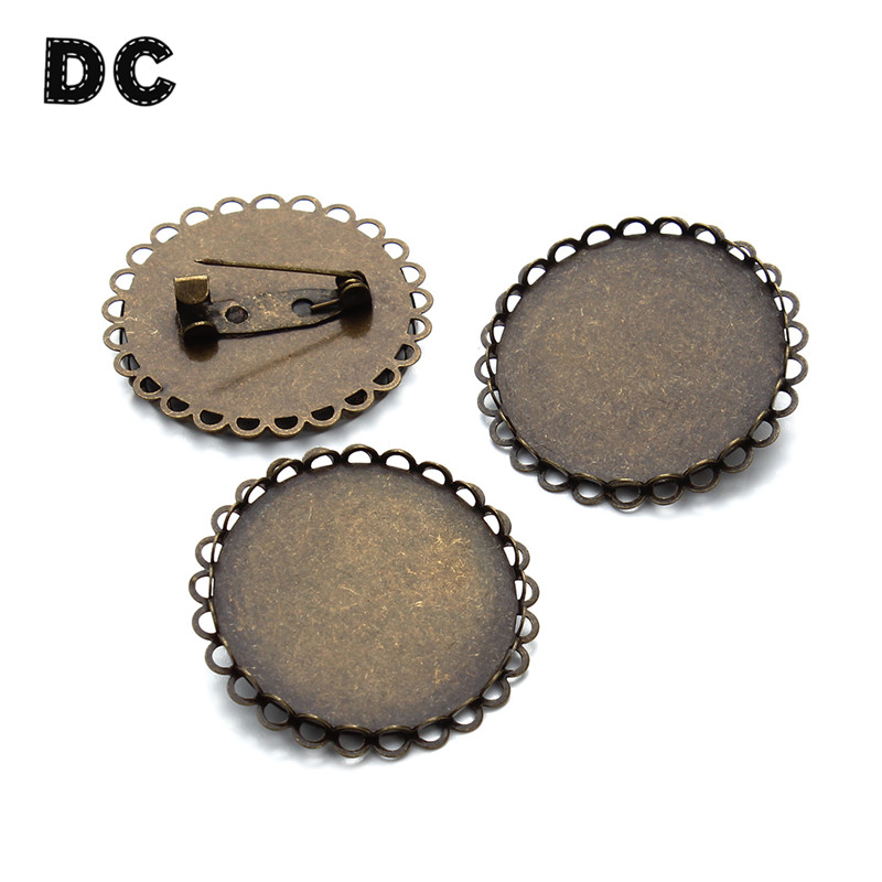 DC 5pcs/lot Inner Dia 30mm Round Antique Bronze Color Brass Brooch Base Setting Blanks Trays with Safety Pin for Jewelry Making