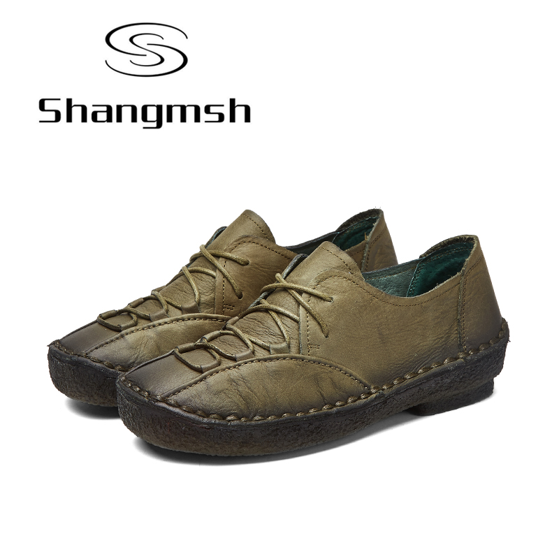 Shangmsh Handmade Women Flats Shoes Genuine leather Soft Ballet Fats 2017 NEW Autumn Ladies Casual Loafer Moccasins for women 2017 new handmade women flats genuine leather oxfords shoes woman fashion ballets flats casual moccasins for women sapatos mujer