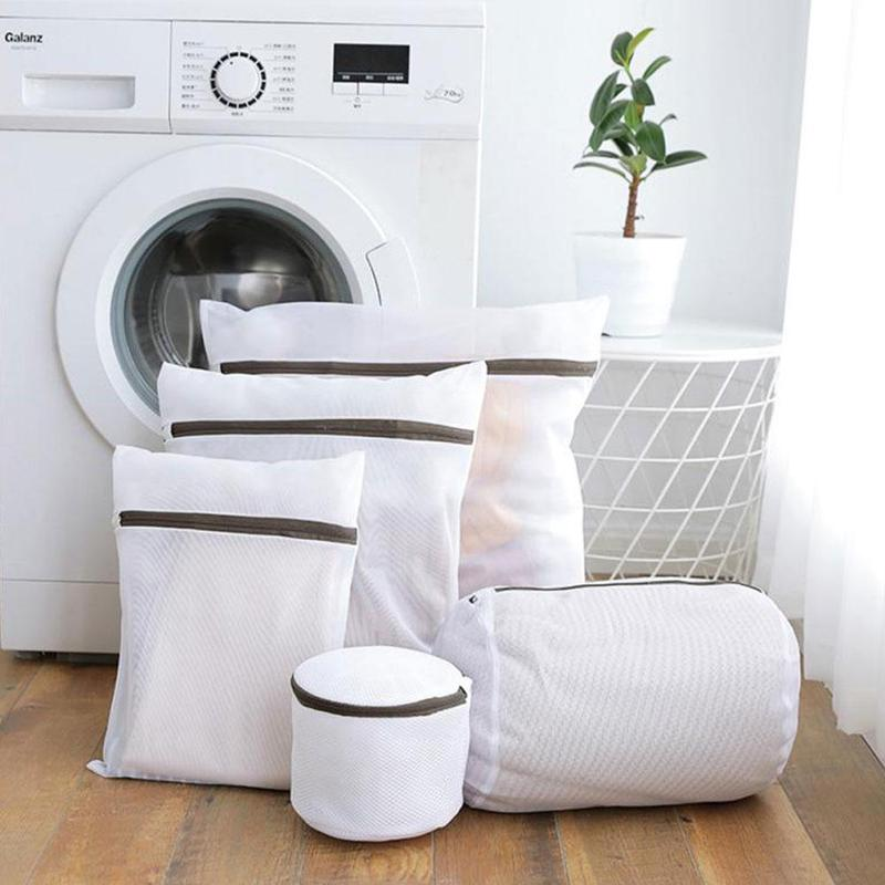 6 Sizes Zippered Mesh Laundry Wash Bags Foldable Delicates Lingerie Bra Socks Underwear Washing Machine Clothes Protection Net