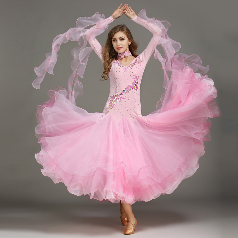 Standard Ballroom Dresses Women Long Sleeve Lycra Stretchy Ballroom Dancing Costume Adult Waltz Ballroom Competition Dance