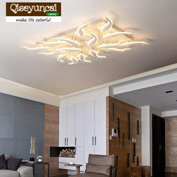 Qiseyuncai 2018 nowy nowoczesne minimalistyczne akrylowa prostokątna w kształcie ryby art led lampy sufitowe salon sypialnia oświetlenie domu