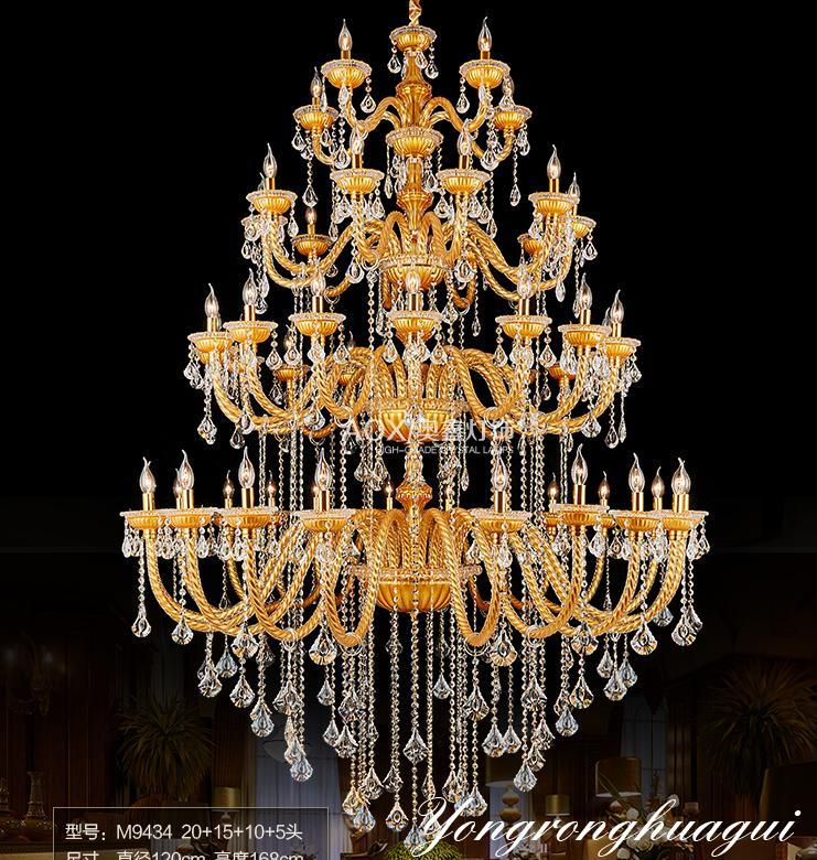 Bohemija velik velik zlati šampanjčni kristalni lestenec za - Notranja razsvetljava - Fotografija 1