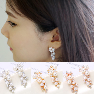 Silver Earrings 2016 New Fashion Grape Design Imitation Shell Pearl Crystal 925 Sterling Silver Ladiesstud Earrings Jewelry Choice Materials Earrings Jewelry & Accessories