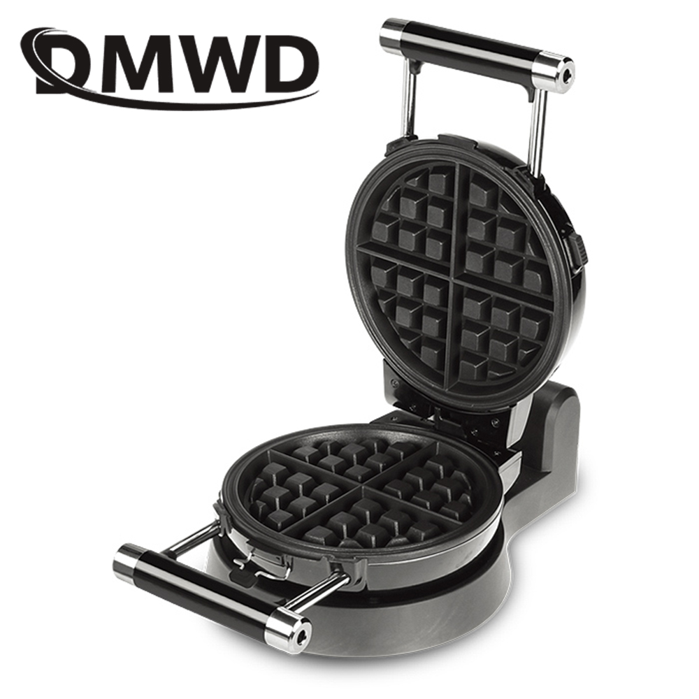 DMWD Electric Automatic Waffle Maker Rotating Breakfast Baking Machine Non-Stick Puff Cake Iron DIY Muffins Mould Bakeware Oven