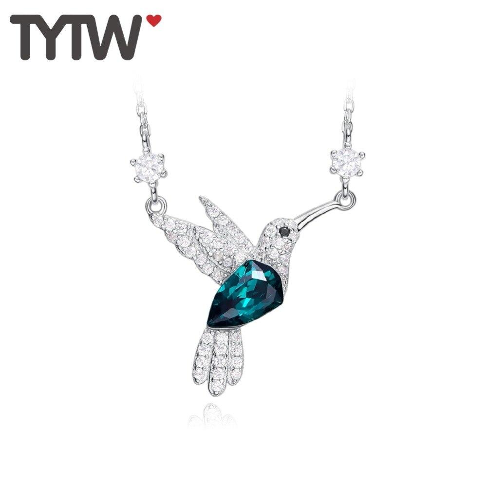 5aad663c3286 Cheap TYTW cristal largo collares y colgantes mujeres collar plata verde  Brid joyería moda chic declaración