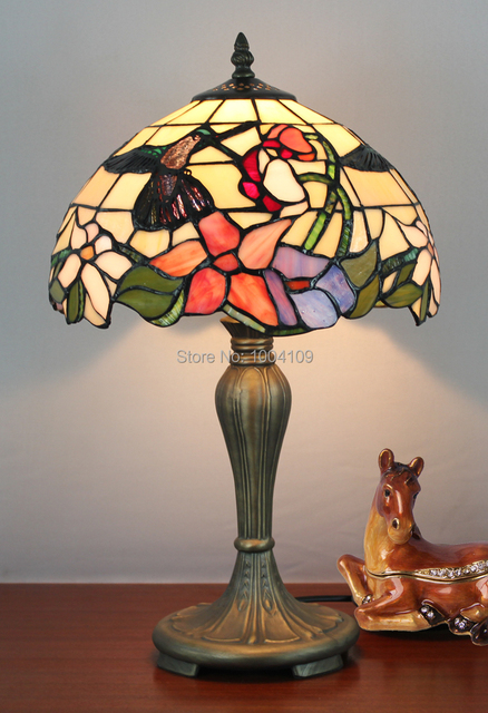 Glass Tabletop Lamp Hummingbird Tiffany Luminaria Table Light Leaded Vintage Study Decorative Lighting