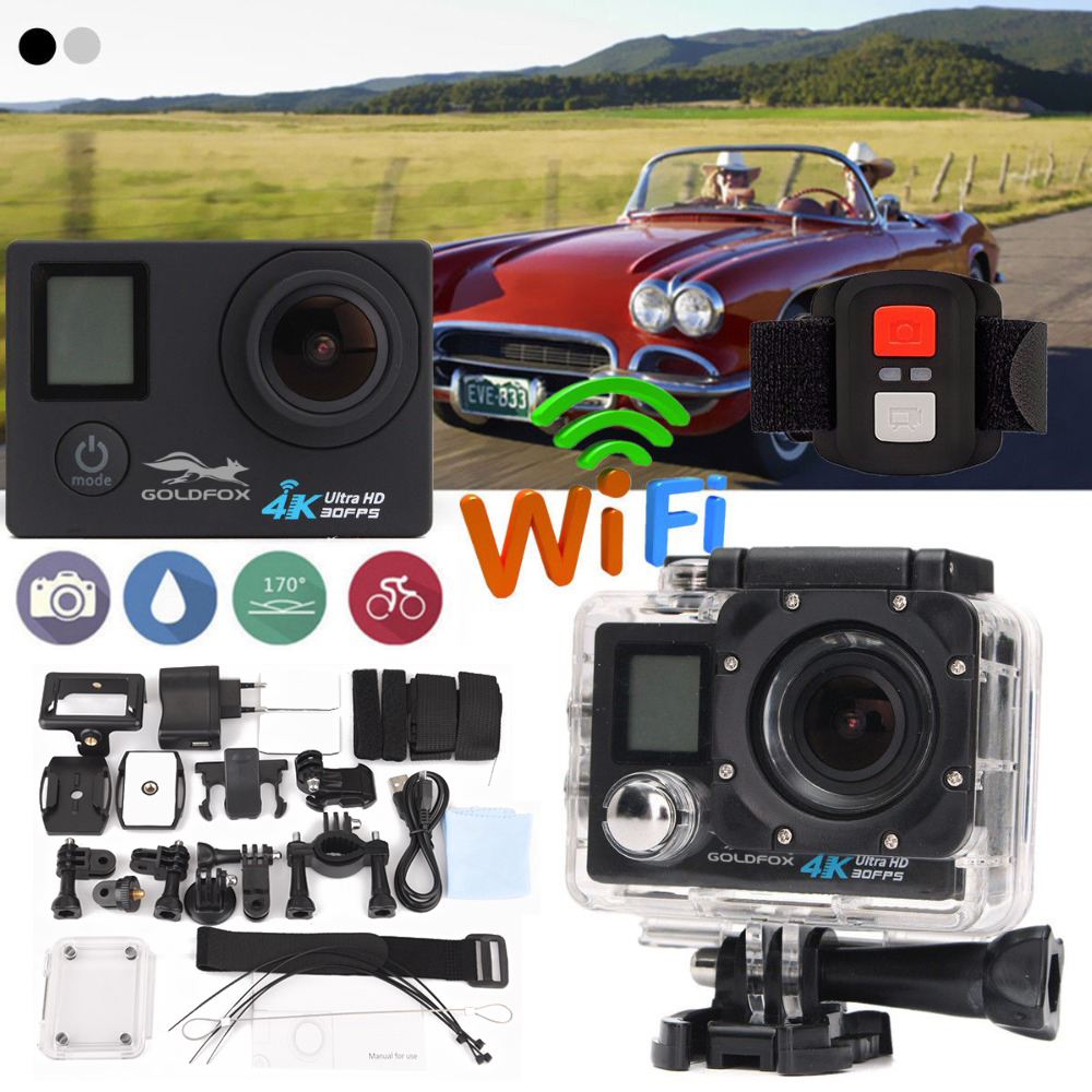 цена на GOLDFOX Remote 4K Action Camera Dual Screen 4K Ultra HD 16MP 2.0'' 140D WiFi Waterproof Sports DV Helmet Camera Car Mode Camera