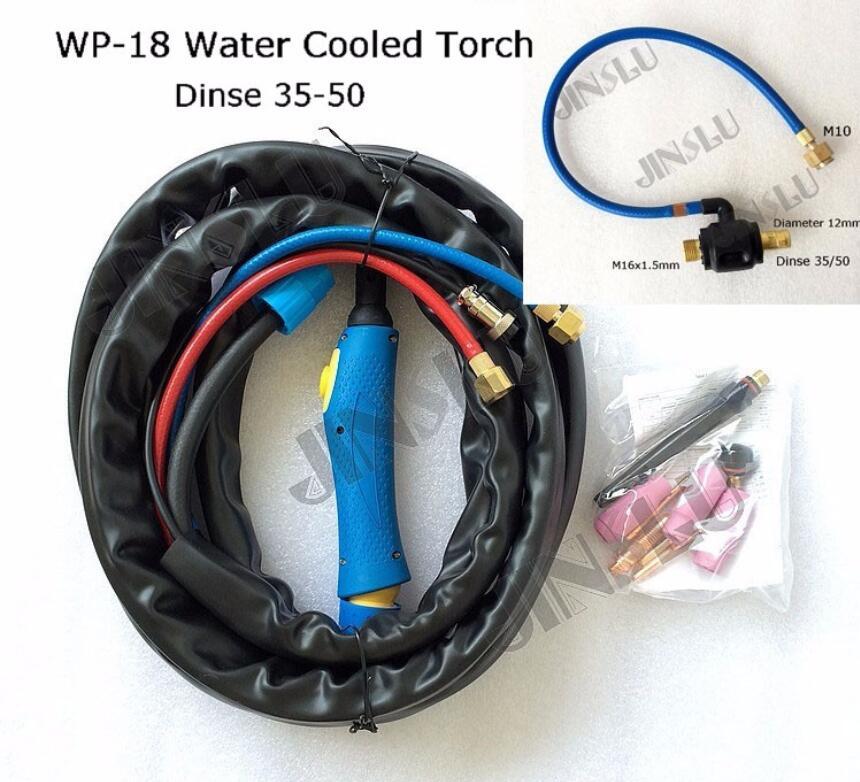 Torche de soudure séparée 4 M refroidie à l'eau de TIG-18/WP-18 avec le corps principal bleu