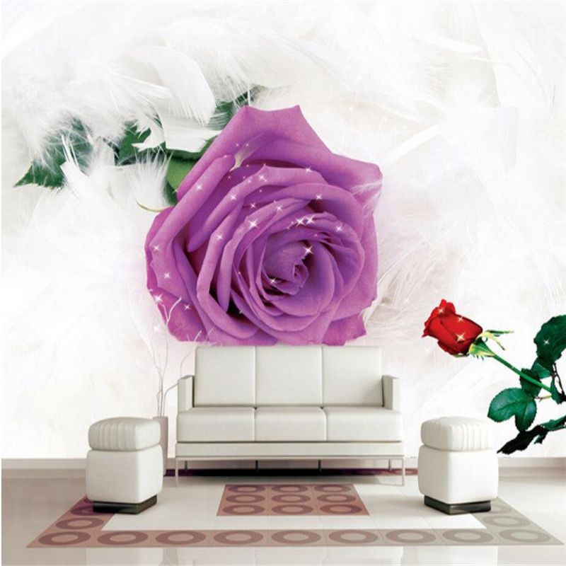 Wallpaper Purple Flowers 3d Custom Feathers Photo Wallpaper Wall Mural Modern 3d Wallpaper for Living Room Kitchen TV Background purple flowers large mural 3d wallpaper tv backdrop living room bedroom wall painting three dimensional 3d wallpaper