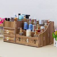 DIY Multi function Wooden Desktop Storage Box Make Up Organizer Case Cosmetic Storage Box Wood Box Container