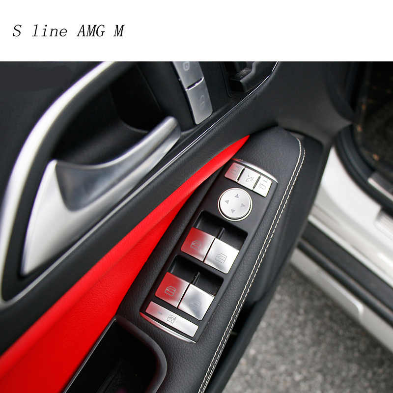 Car Styling Per Mercedes Benz C Classe E W204 W212 Auto Sollevatore Finestra di Controllo Telaio Interruttore Della Decorazione Bracciolo Pannello di Rivestimento sticker Cover