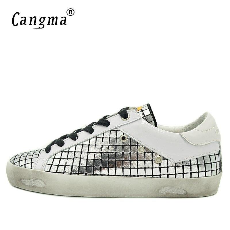 Hombres Los 2019 Zapatillas Plataforma Shoes Nuevo silver Marca Lujo Cangma De Shoes Silver Lunares La Zapatos Patente Diseñador Calzado Cuero Entrenador CIwqUXnx6W