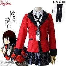 7 pièces ensemble complet JP Anime Kakegurui Cosplay déguisement Halloween Jabami Yumeko Cosplay Costume Igarashi Sayaka COSPLAY uniforme scolaire