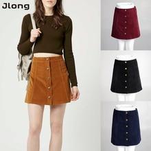 Skirts 2017 Women Sexy Skirt Vintage A-Line High Waist Bodycon Button Short Saia Femininas Mini Female Skirts