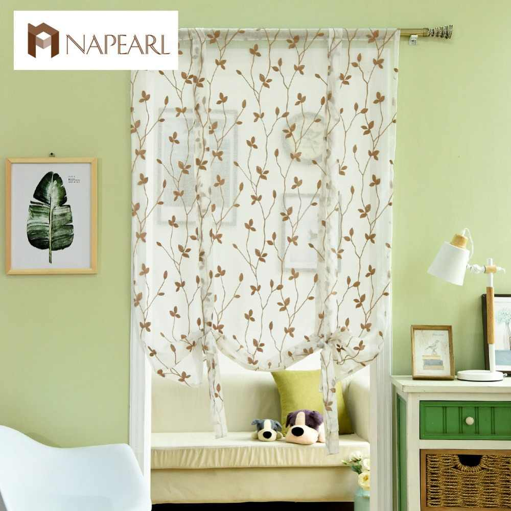 Embroidered short curtains for kitchen roman blinds ready made rod pocket leave curtain door brown white linen balloon curtain