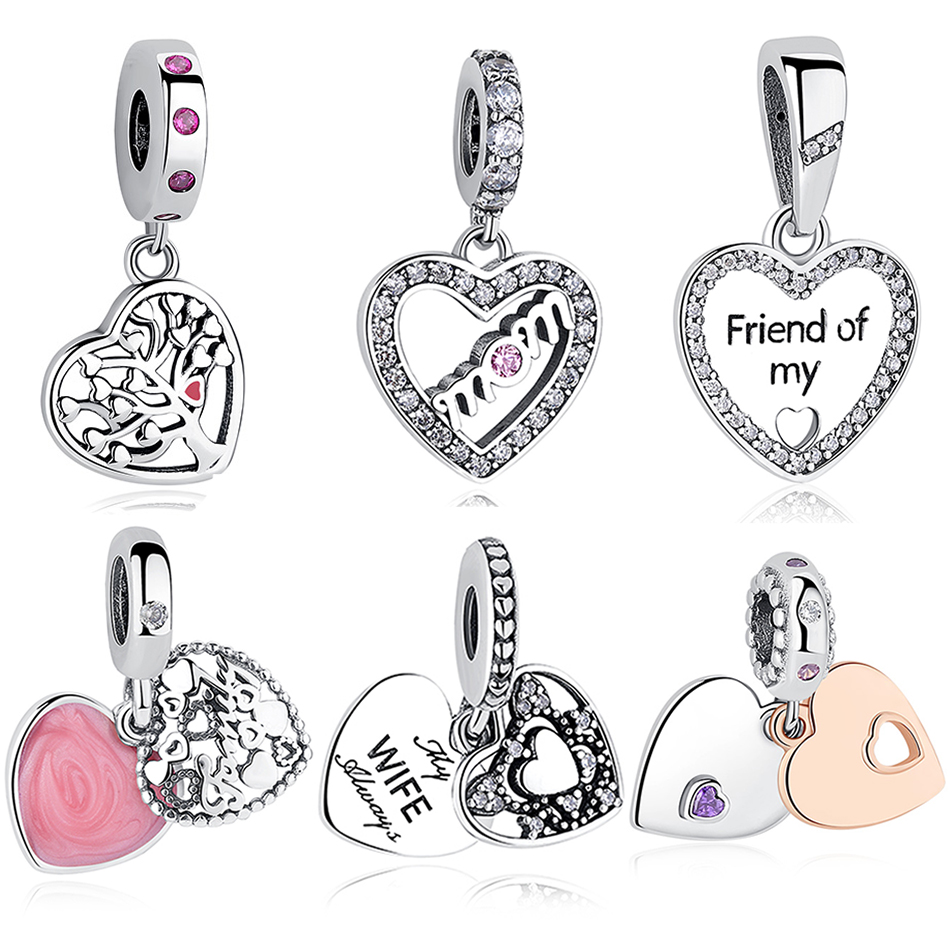 2018 Luxury Authentic 925 Sterling Silver Friend Family Tree Heart Pendant Charm Fit Original Pandora Bracelet Women DIY Jewelry