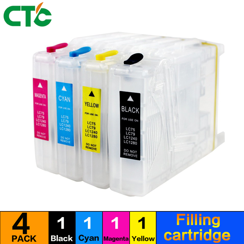 4X LC1280 Compatible brotherhood LC400bk cartridge MFC-J625DW J825DW J430W filling cartridge MFC-430W J6910DW J6710DW J435W