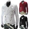 Envío gratis nueva moda hombre cruzado delgado grueso traje de chaqueta de los hombres casual slim fit blazer chaquetas formales de negocios lxy289