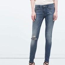 Denim Women Jeans frayed blue bsk jant skinny calcas feminina jeans tiro alto pantalon femme spijkerbroek jardineira feminina
