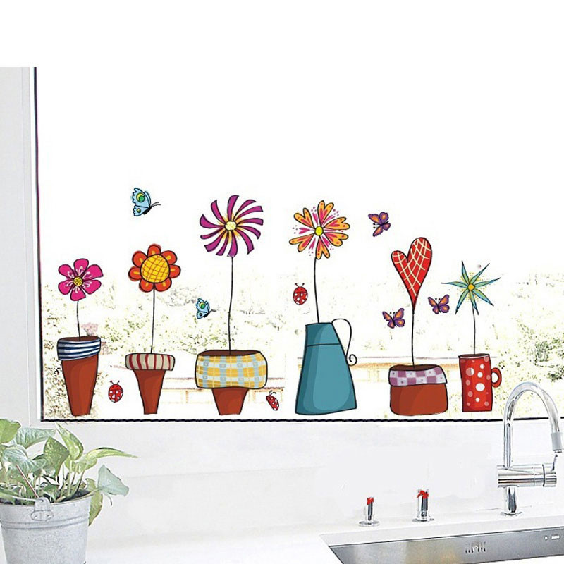 HTB1eYtFKVXXXXX4XpXXq6xXFXXXd - Cute Flower Wall Sticker Kitchen Window Sticker Butterfies Wall Stickers Home Decor Bathroom Vinyl Wall Decals Kids Rooms Decor