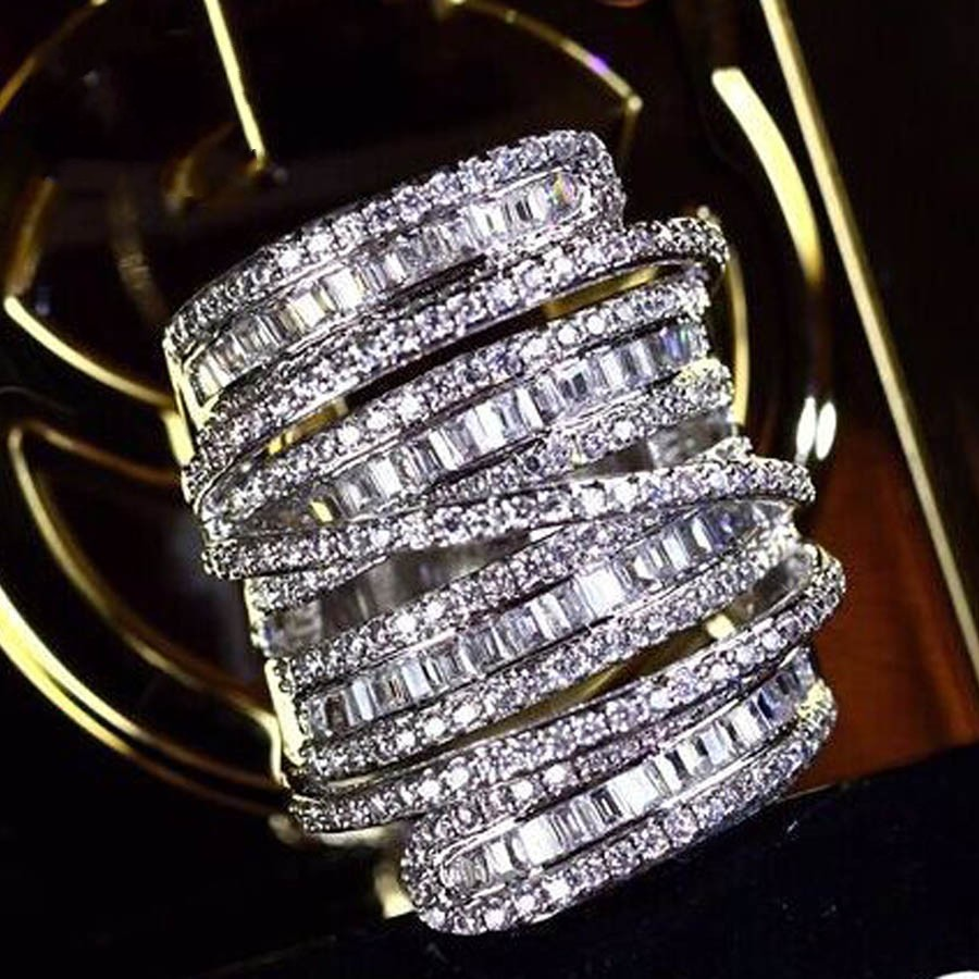 Luxury Pave set full Square T Simulated Diamond gemstone ring jewelry Women S925 Sterling silver Cocktail Band Rings size 5-10