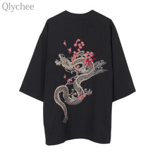 Qlychee Японии Винтаж Для женщин верхняя одежда вишни Дракон Вышивка кардиган Половина рукава уличная Повседневное Топ