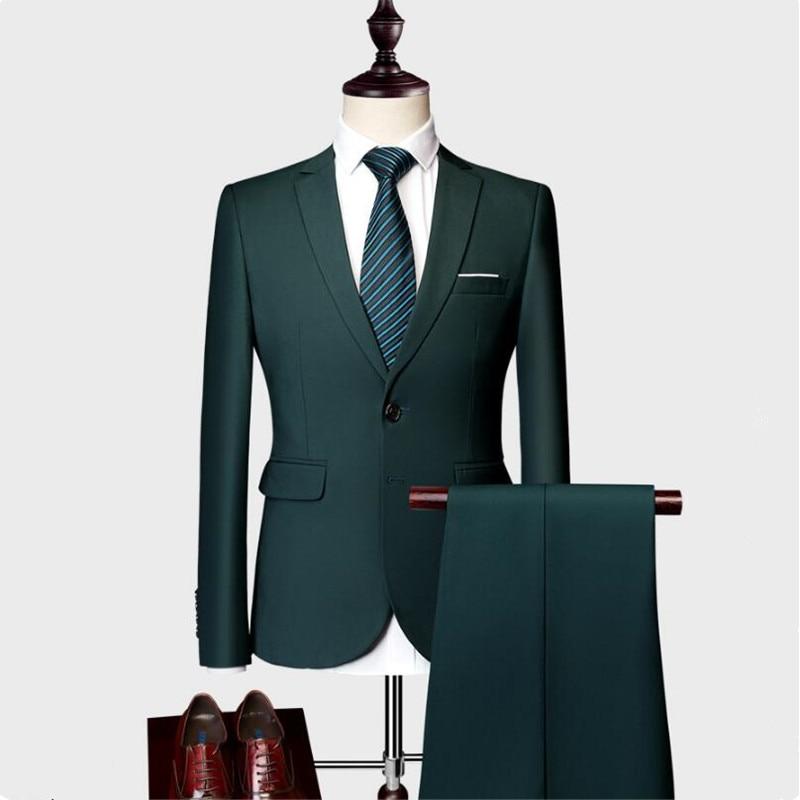 Wysokiej jakości 2019/moda męska Slim garnitury męskie biznes odzież codzienna Groomsman 2 jednoczęściowy garnitur Blazers kurtka spodnie w Garnitury od Odzież męska na  Grupa 1