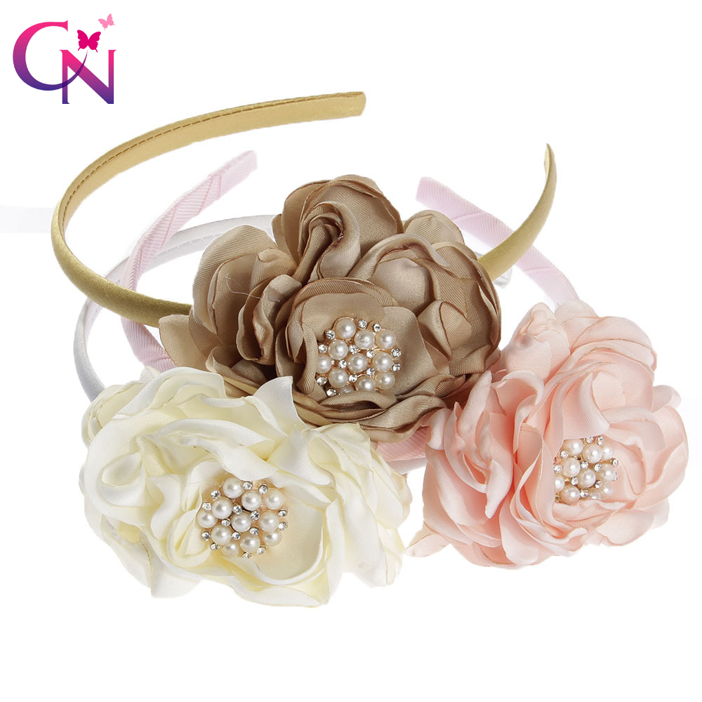 3 Pieces/lot Artificia Flower Hairbands With Pearl For Kis Girls Rhinestone Fabric Flowers Hard Satin Headbands Hair Accessories singed burn fabric flower satin burned edges flower for girls women 30 pcs