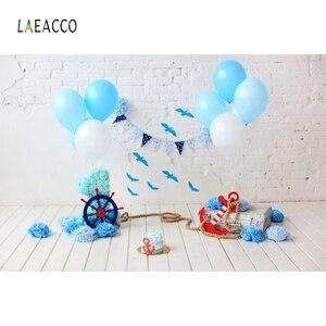 Image 4 - Laeacco ילדי יום הולדת Photophone לבן קיר בלוני דגלון הגה תמונה תפאורות תינוק דיוקן צילום רקעים