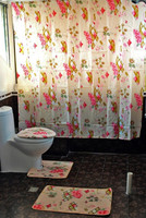 Shower Curtain Bathroom Waterproof Pink Small Flower Shower Curtain Set 1 Toilet Set 1U Shaped Pads