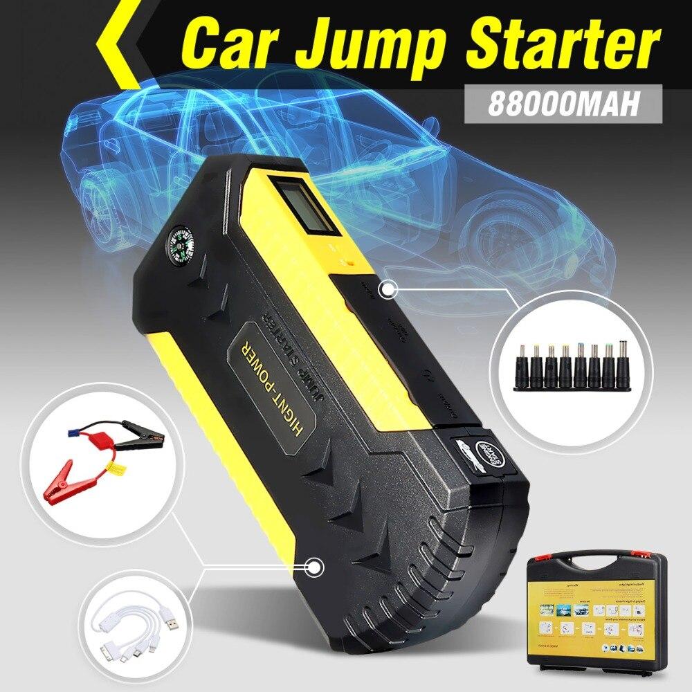88000 mAh 4USB 12 V voiture saut démarreur chargeur d'urgence Booster chargeur portatif batterie saut démarreur outil ensemble pour démarrage automatique dispositif