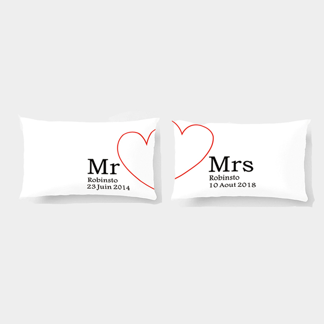 custom mr and mrs pillow cover date love pillowcases personalized couple covers gift for wedding engagement gift by lvsure